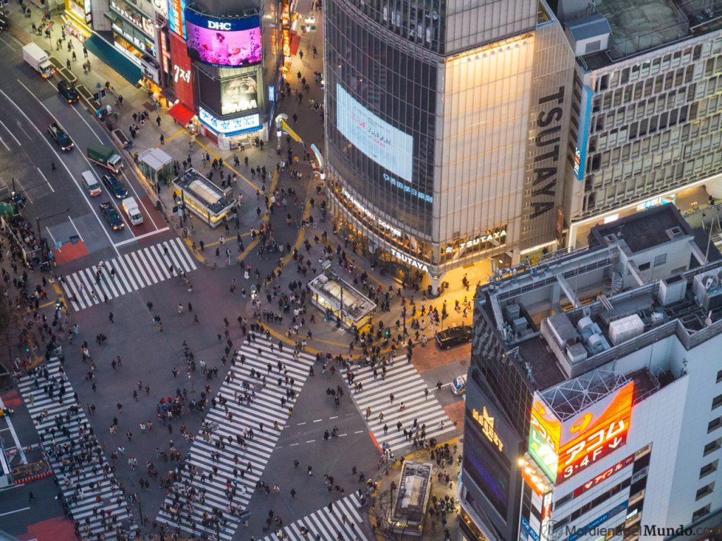 Vistas del cruce de Shibuya desde el mirador del Shibuya Sky