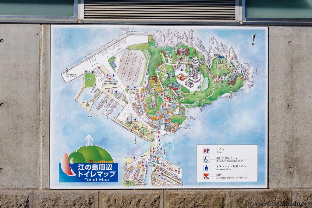Mapa de la isla de Enoshima en Tokio